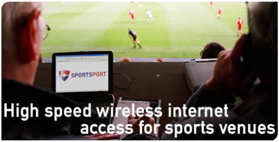 High speed wireless internet access for sports venues